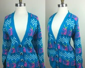 80s Neon Sweater Novelty Print TVs with Knob Buttons L