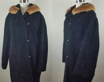 60s Faux Fur Coat Plus Size Curly Lamb with Real Mink Collar L+