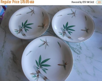 """SALE Noritake China Canton  """"Bamboo"""" Pattern # NOR 5540, Set of THREE Dinner Plates, made from 1953-1957, Bamboo with leaves in bright green"""