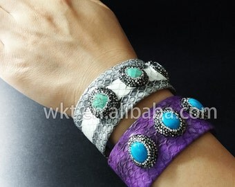 WT-B201 Popular crystal boho bangle, exclusive gorgeous adjustable triple stone bangle jewelry
