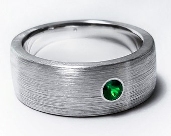 Sterling Silver Brushed Emerald Band - Wide Emerald Band, Matte Band, Sterling Silver Emerald Wedding Band, Emerald Ring, Brushed Band