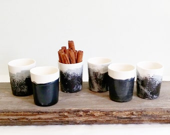 Ceramic Espresso Cup, Black And White Decor, Modern Espresso Cups, Ceramic Mug, Pottery Cup, Gift For Him, Office Gifts, Father's Day Gift