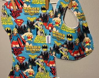 Superhero Baby Girl, Bib, Burp Cloth Set