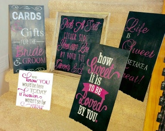 Set of 5 persoanlized wedding signs for your ceremony and reception