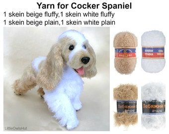 Yarn Khlopok (Hlopok) Travka, Swan's down to make 1 Cocker Spaniel in beige and white