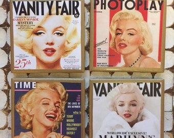 COASTERS!!! Marilyn Monroe set of magazine cover coasters with gold trim