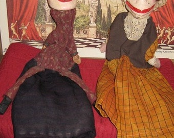 Antique Rare Handmade Punch and Judy Hand Puppets