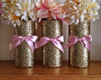 3 Gold Vases, Wedding, Pink And Gold Baby Shower, Centerpieces, Wedding  Centerpiece