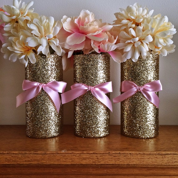 Gold vases wedding pink and baby shower