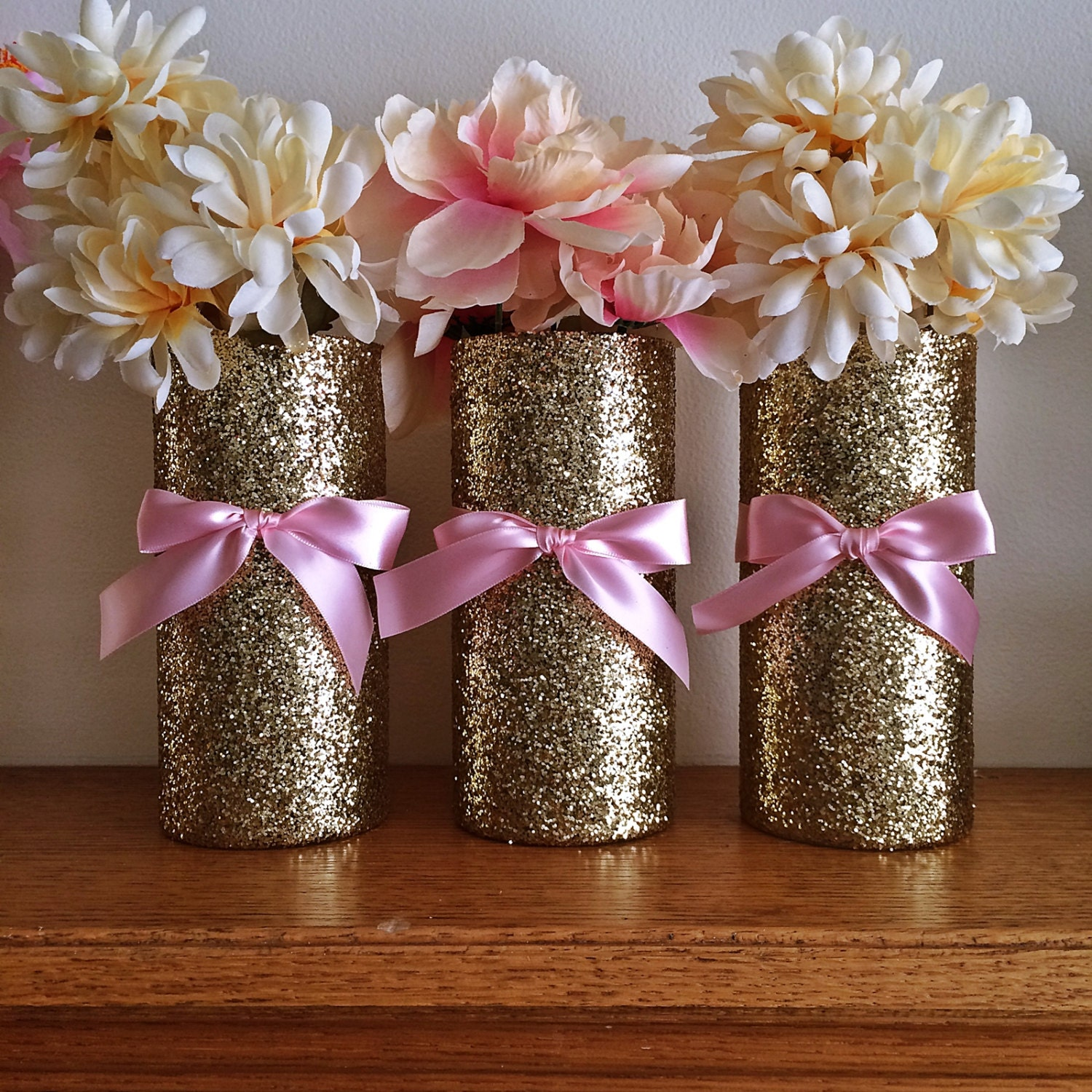 Gold Wedding Centerpiece Decorations: 3 Gold Vases Wedding Pink And Gold Baby Shower