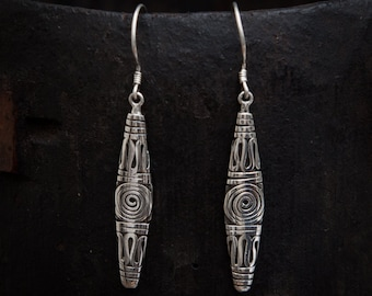 Oxidised Sterling Silver Balinese Drop Earrings