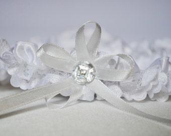 Bridal garter, white garter, wedding garter, snow white lace & atlas garter, rhinestone garter, custom size garter, brides garter, garter