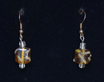 amber and gold lampworked bead earrings