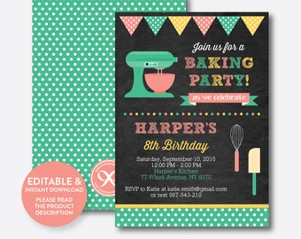 Instant Download, Editable Baking Birthday Invitation, Baking Invitation, Chef Invitation, Baking Party, Cooking Party, Chalkboard (CKB.130)