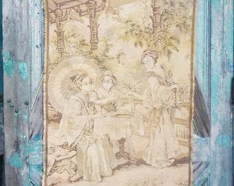 Vintage Tea Drinking Tapestry / Pale Quiet Colors / Large Wall Hanging / Vintage Tea / Victorian Tea