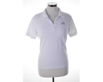Kappa Womens Polo Shirt Large White Cotton