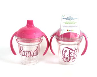 Personalized sippy cup with lid. Blue or Pink available with name or monogram.  Tervis sippy cups.
