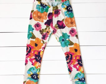 Watercolor Floral Beautiful Baby Girl Leggings - Soft Knit Cream/Multi Color Leggings