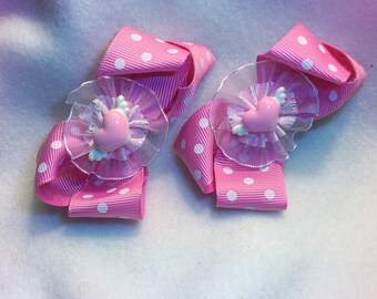 Pink Bow hair clips, 2 Pink and white bows with Heart centers. Valentine Hair Bows.