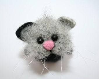Needle Felted Cat. Black/Gray Cat. Kitty. Funny Cat/ Soft Sculpture. Pet. Felted Animal. Cute Miniature. Made to Order.
