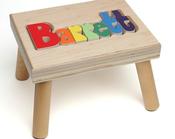Name puzzle stool etsy name puzzle stool custom name puzzle stool baby gift nursery wooden name negle Image collections