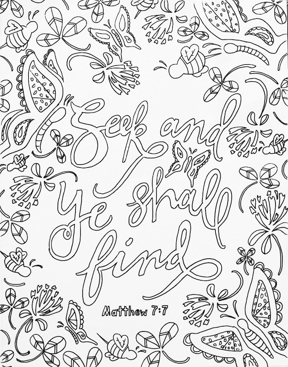 Scripture Coloring Page Adult Meditation