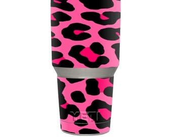 Skin Decal Wrap for YETI RTIC Ozark Trail 30oz Rambler Tumbler sticker skins Pink Leopard