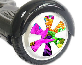 Skin Decal Wrap for Hoverboard Balance Board Scooter Wheels Colorful Flowers