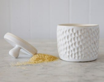 Sgraffito Sugar Bowl in white
