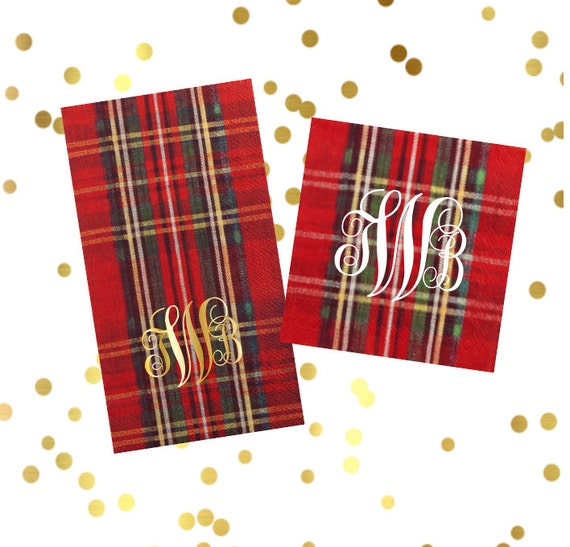 Christmas napkins, Holiday napkins, Plaid napkins, festive napkins, holiday guest towels, Christmas decor, holiday hostess gift