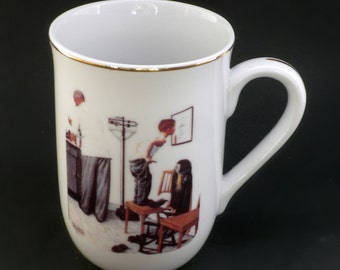 Christmas Mug, Norman Rockwell Cup, Saturday Evening Post, Before The Shot, 1986 Clay In Mind, Collectible Mug, Christmas Collectible