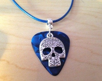 Guitar Pick Necklace Blue with Skull