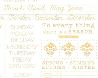 Calico Week Days - White from Riley Blake Designs by Lori Holt