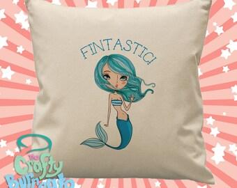 Fintastic - 45cm square cotton cushion cover mermaid design