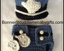 Crochet Baby Police Handmade Hat and Diaper Cover Baby Shower Gift Photo Prop