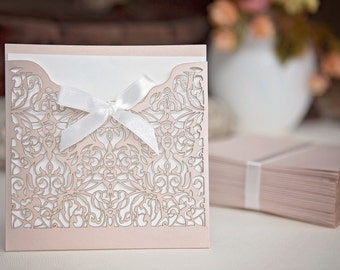 DIY Laser cut invitation set - More Colors Available