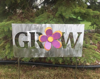 Metal Garden Art Yard Sign with Yellow, Orange, Pink and Purple Flower with Word Grow