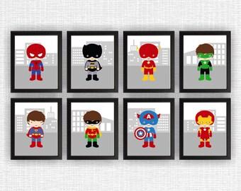 Super Hero Nursery Printable Boy Room Playroom Decor Art Set of 8, 8x10, Super Hero INSTANT DOWNLOAD