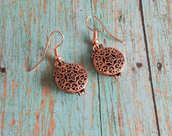 Copper diffuser earrings, Diffuser earrings, Essential oil diffuser earrings, Copper earrings, Essential oil earrings, Diffuser, Jewelry