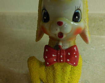 Vintage Arnart Creations Spaghetti  Bright Yellow Lamb with Bow Tie Figurine