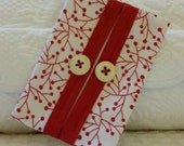 Tissue Holder,Red White, Red Trim Vintage Buttons, FREE SHIP Tissue Pouch, Pocket Tissue Holder, Teacher, Friend, Child, Gift