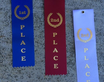 """AWARD RIBBONS, Set of three 1st 2nd 3rd from awards shop 2x8"""" each"""