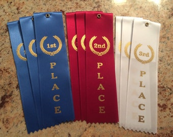 """Set of 9 AWARD RIBBONS, 3 each of 1st 2nd 3rd ribbons 2""""x8"""" each."""