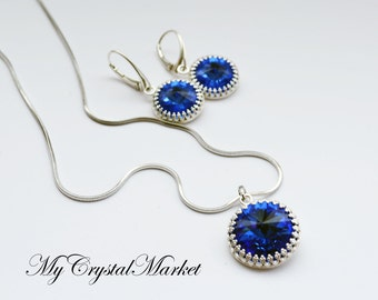 Set. Earrings and Pendant with Swarovski crystals.