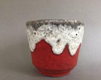 ES - Keramik, mat orange , white fat lava drip glaze (ES -  Emons & Sons ) Mid Century Modern 1960s / 1970s ceramic  West Germany Planter.