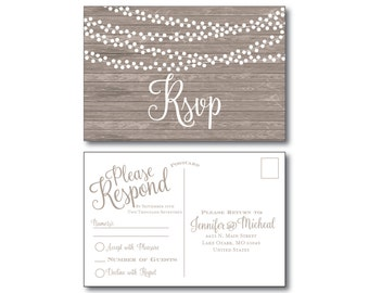 Rustic Wedding RSVP Postcard - Country Chic - Hanging Lights - Fall Wedding - Rustic Wedding - RSVP Postcard - Wedding Postcard - RSVP