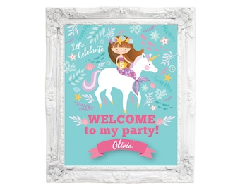 Mermaid & Unicorn, Birthday Welcome Sign, Printable, Customized DIY, Mermaid, Unicorn, floral, Party Sign