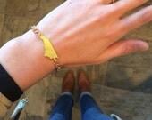 North Carolina State Cutout Bracelet w/ Gold Chain