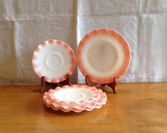 Set of Five(5) Wonderful PINK Scalloped HAZEL ATLAS Plates. Two Saucers and Three Dessert Plates. Known as Crinoline Pattern. Desireable