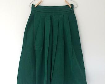 Vintage 90s Emerald Green Pleat Silk Taffeta Skirt (S)
